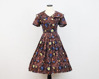 50s Mocha Cotton Day Dress - Vintage 1950s Fit and Flare Patterned Housewife Dress