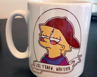 Cool Lisa Like Y'know Whatever Alternative Pop Art Simpsons Goth Cup Mug by zombieCraig