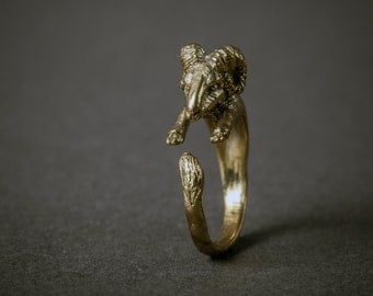 SALE Golden Ram Wrap Ring. Adjustable Ram Ring. Animal Ring. Woodland Ring. Boho Ring. Aries Ring.