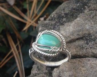 Chrysoprase Silver Ring Size 7.5
