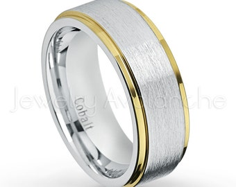 2 Tone Cobalt Wedding Ring, Yellow Gold IP Stepped Edge, Brushed Finish  Comfort