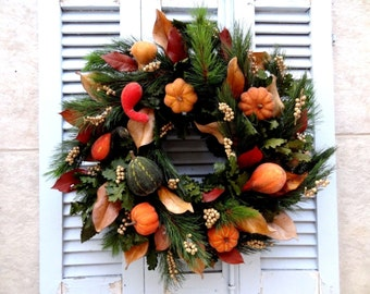 Traditional Christmas Wreath With Pumpiks - Christmas Wreath - Hanging Wreath