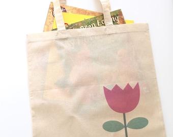 Tulip totebag. Shopping bag. Canvas bag. Cute tote bags. Eco bag. Tulip bag.Flower bag