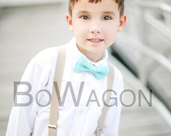 Mint/Turquoise Bow/Suspenders Set, Light Grey Suspenders, Mint Toddler Bow Tie, Light Green Infant Bow Tie