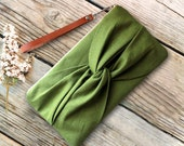 Cellery Green Linen Knotted  Bow Wristlet with Genuine Leather Strap Available in 12 Colors