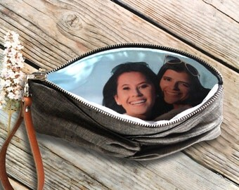 Personalized Custom Photo Clutch with Picture Lining- Photo Gift for Her
