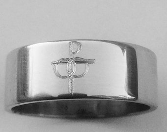 Catholic Symbol of Marriage Wedding Band 7mm Wide Sterling Silver