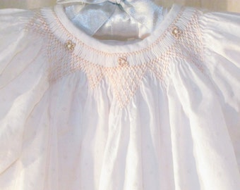 Smocked Baby Girl Heirloom Bishop Dress Wedding Portrait Easter Christening