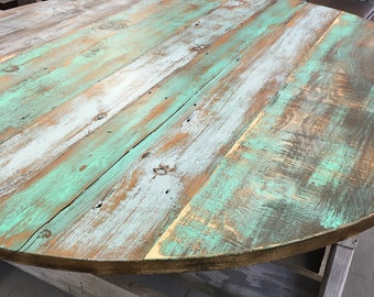 reclaimed wood round dining tableround table topadd your base