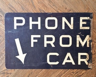 Vintage Telephone Sign, Phone from Car Sign, Bell Telephone, Payphone Sign