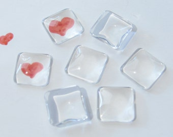 D-03539 - 4 Cabochons glass square 16x16mm