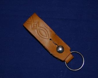 "Leather Belt loop Key Fob ""Fish"""
