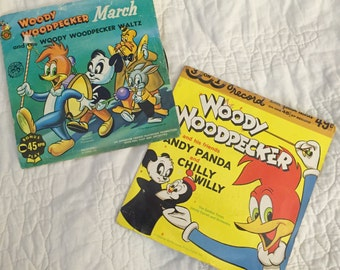 Rare Woody Woodpecker records, Woody woodpecker 45 RPMs, Andy panda and chilly Willy, Children's records
