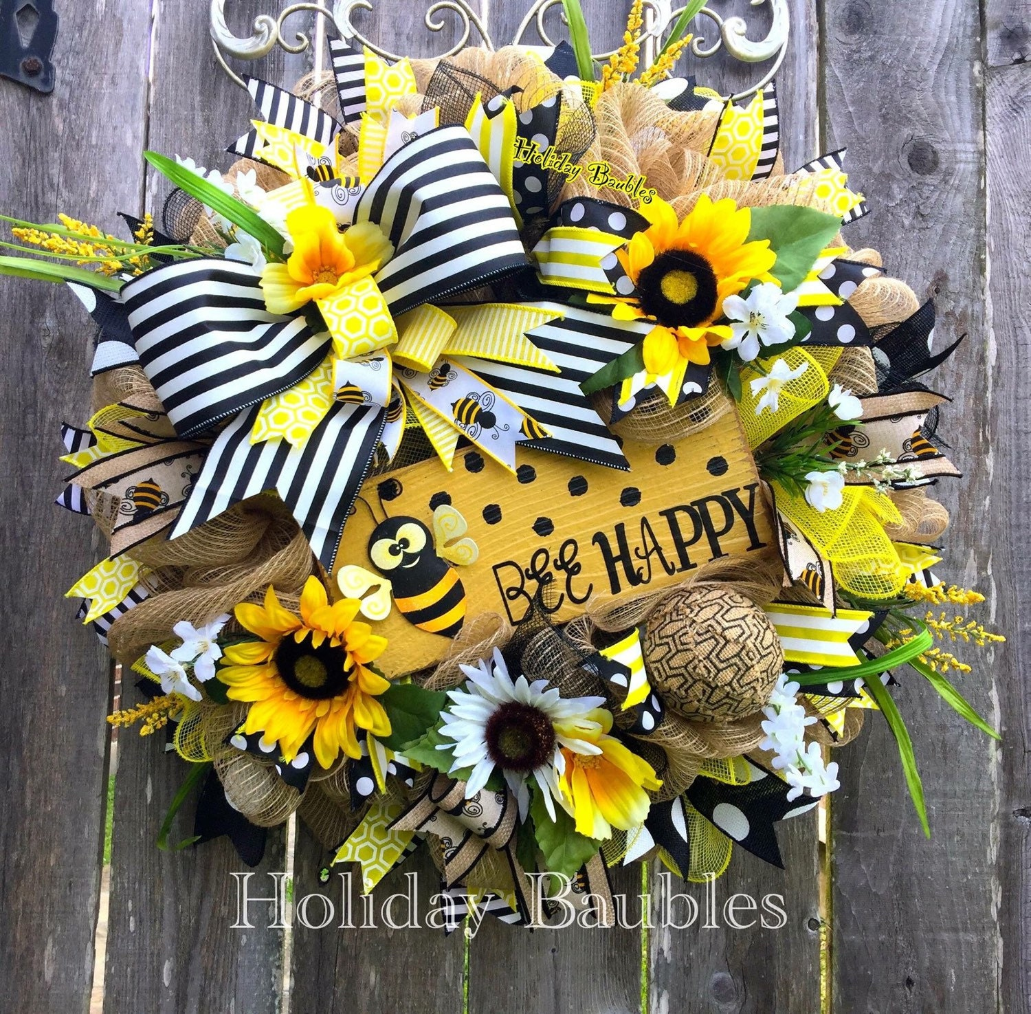 Bee wreath bee happy wreath summer wreath bee decor summer for Bumble bee mural