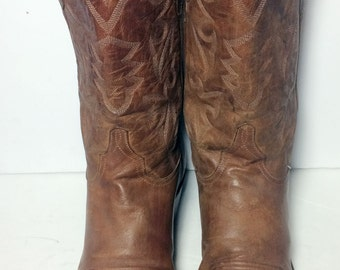 LUCCHESE Brown Leather Cowboy Western Boots Men's Size 11 D