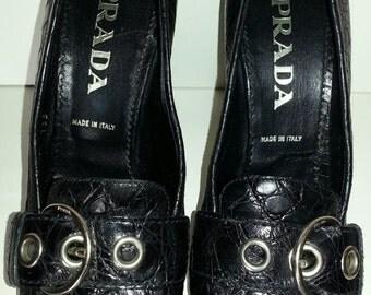 PRADA Black Leather Alligator Print High Heel Shoes Women's Size 38.5
