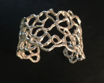 Sterling silver  lacey freeform cuff bracelet