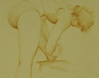 Vtg Sketch of Woman in Bathing Suit Stretching Ballerina by Glen Reichard 11x14