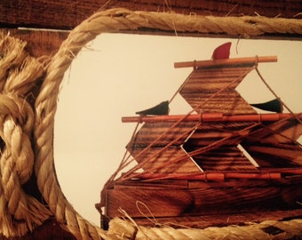 Vintage nautical ship, hooks, key holder, fixture