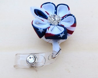 Retractable ID Badge Holder Kanzashi Flower July 4th ID Badge Holder