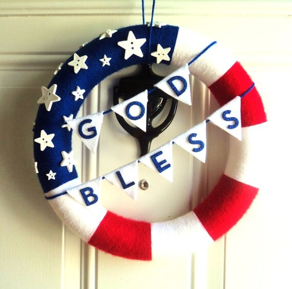 American flag wreath god bless welcome home for Patriotic welcome home decorations