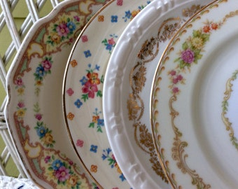 Dinnerware, Bread and Butter Plates, Dessert Plates, Unmatched Plates, Mismatched Plates, Antique Dishes, Teaparty Dishes, Gramma Garden