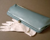 Vintage plastic clutch purse 1960's, powder blue shiny vinyl, snake skin pattern, baguette style, Mad Men, Jackie O, wedding, chic.