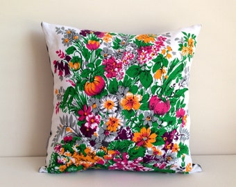 Floral cushion cover Garden Linen pillow upcycled tea towel