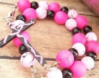 Pink Cross Bracelet, Christian Jewelry, Christian Bracelet, Cross Bracelet, Pink Jewelry, Double Wrap Bracelet