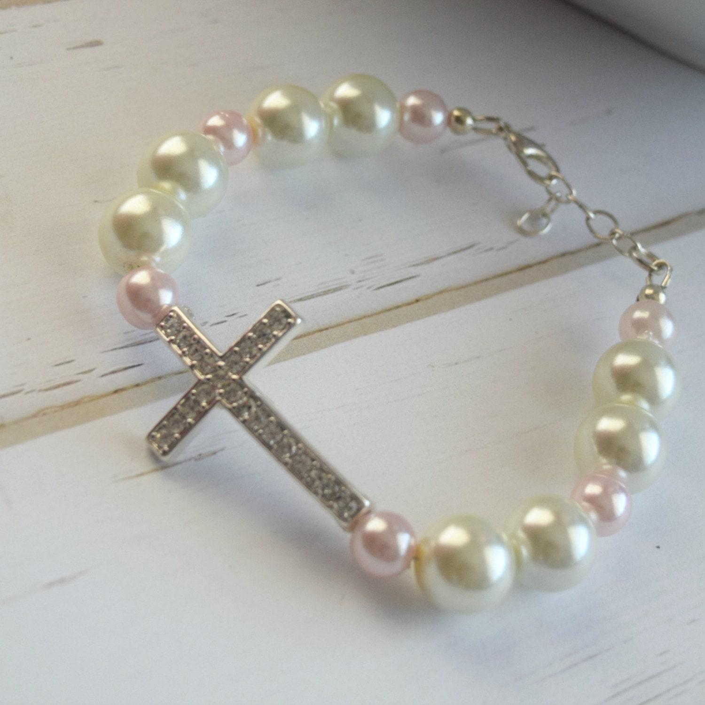 Christian Charm Bracelets: Rhinestone Christian Cross Bracelet Christian Jewelry