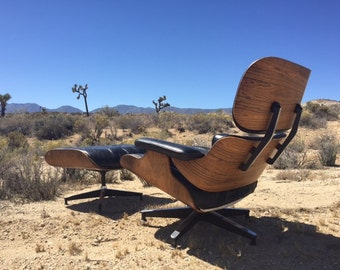 Second Generation Brazilian Rosewood Eames Lounge and Ottoman.