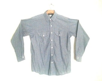 Vintage 80s Chambray Work Shirt Osh Kosh B'Gosh Men''s Medium
