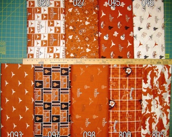 NCAA Universitry of Texas Longhorns Burnt Orange & White College Logo Cotton Fabric by Sykel! [Choose Your Cut Size]