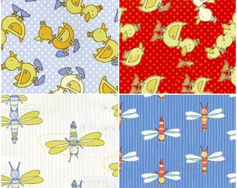 Yellow Duckies and Dragon Fly Cotton Flannel by Blue Hill! [Choose Your Cut Size]