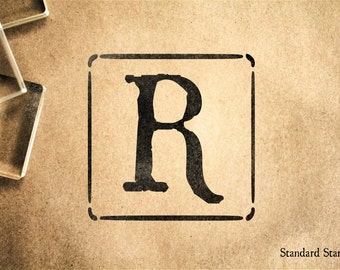 Letter R Block Rubber Stamp - 2 x 2 inches