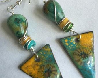 Rustic Boho Ceramic Earrings, Copper Enamel Earrings in Turquoise and Yellow, Rustic Earrings,