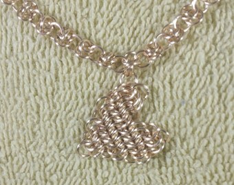 Gold Chainmaille Necklace with Heart European 6-1 Chainmaille Heart Pendant