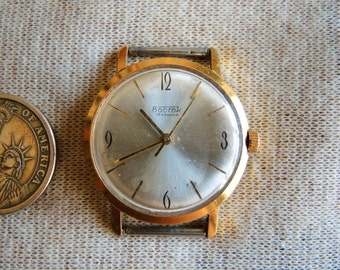 Vintage MAN Soviet Mechanical Gold Plated Au 20 stamped wrist Watch VOSTOK  Wostok / 18j watch USSR era 1970s / collectible watch /