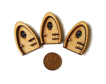 3 Miniature Fairy Door 3D Elf Wooden Laser Cut Fairies Pixies Handmade