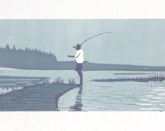 Fisherman original art, fishing art, fishing gifts for men, linocut print, fisherman gift, gift for dad, gift for grandpa
