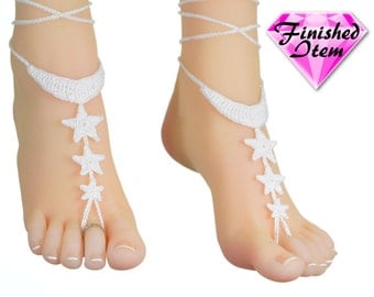 Barefoot sandals | wedding shoes | to the MOON & BACK | White