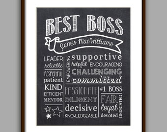 Boss Gift, Best Boss Chalkboard Printable, Boss Christmas, Boss Appreciation Gift, Unique Boss Gift, Personalized Digital File 8x10 JPG File