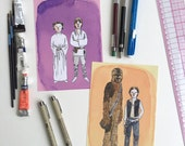 Set of Two Star Wars Watercolor Prints