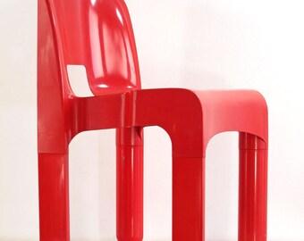 Sixties design Joe Colombo 4867 plastic vintage red chair for Kartell - eames, retro, eero aarnio, verner panton, artifort, pierre paulin