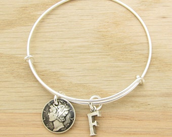 For 80th: 1937 Antiqued US Dime Coin Bangle Wire Bracelet with optional letter charm 80th Birthday Gift Coin Jewelry