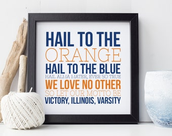 University of Illinois - Football Typography - Fight Song - Alma Mater