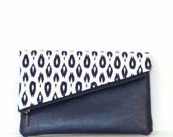 Clutch / Clutch Bag / Clutch Purse / Foldover Clutch Bag / Handbag / Evening Bag / Purse / Leather Clutch Bag/ Navy and White