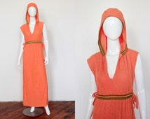 Vintage 1970's Tangerine Terry Cloth Maxi Dress, Hooded Beach Cover Up