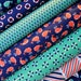 The Littles Fabric Bundle from Michael Miller. Turquoise, Coral and Navy Blue Nautical Ocean - Whales, Boats & more - 100% cotton.