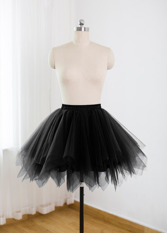 Perfect Black Tulle Skirt Tutu For Women Lined With Black Satin And A Black